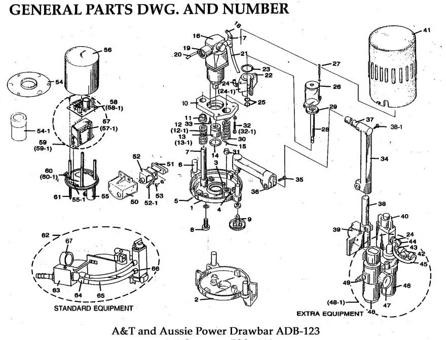 Aussie AT-158 Universal Power Draw Bar Exploded Drawing